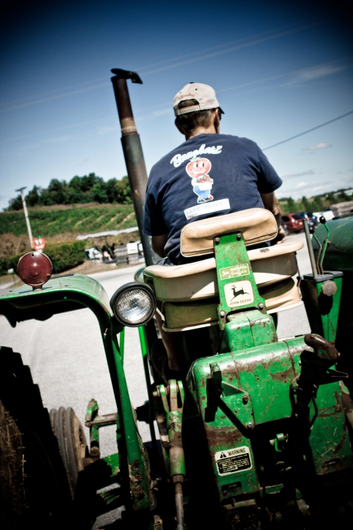 A tractor driver at Baugher's Farm in Westminster, Md.